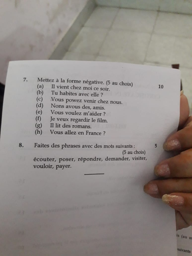 French Test Paper – Manish Jain Hindi,Russian & French
